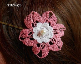 Barrette.pince Flower Pink crochet cotton 5cm *.