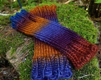 Rainbow Knit Arm Warmer Fingerless Gloves