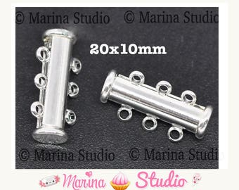 10 magnetic clasps magnet 3 row silver 20x10mm (MS09347)