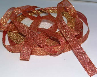 Shiny Gold and orange Ribbon 10mm
