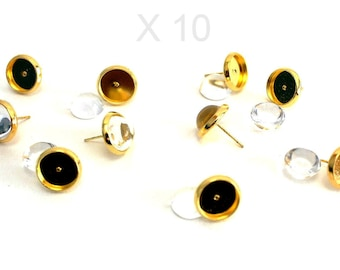 10 Golden Stud Earrings 10 cabochons + 10 silicone clasps