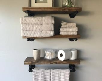 "Rustic Floating Shelves w/Towel Bar (Set of 3) 8"" Deep, Industrial"