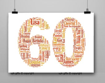 Personalised Gift Printable Word Art Age, 60th Birthday, Anniversary,  Sister, Brother, Wife, Husband Any Age Available 1,16,18,21,30,40,50