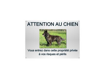warning plate metal aluminum 29x20cm Dutch Shepherd Dog approximately ref 34