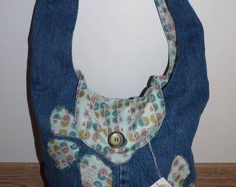 Denim bag, line round fancy fabrics, applique butterflies, done in a pant leg