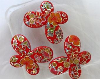 set of 2 beads rougesen Butterfly shape