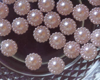 set of 5 pink cabochon flowers scrapbooking