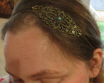 "Headband ""Antique Lov"", blue, ivory, Ecru, bronze, original women gift, heart, wedding"
