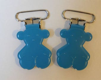 bear pacifier clip-turquoise