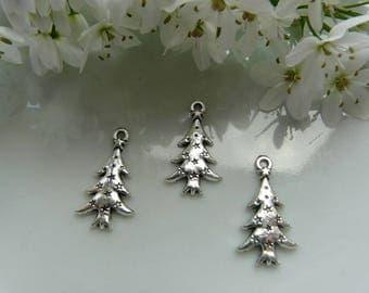 x 2 pendant silver Christmas tree charms