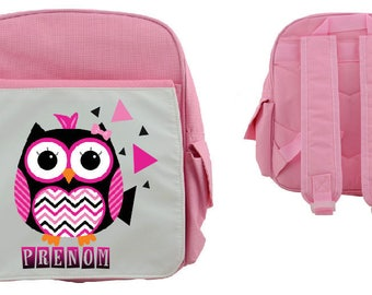 """BACKPACK child """"OWL rock n roll"""" personalized with child's name"""