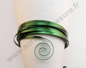 Wire aluminum 5mm flat - Green - 1 m x