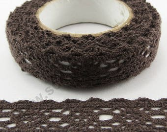 Fabric adhesive tape - chocolate lace - 17mm x 2.5 m
