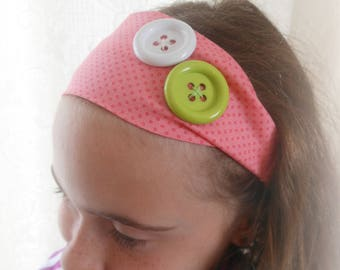 FABRIC HEADBAND PINK SALMON WITH DECORATIVE BUTTONS