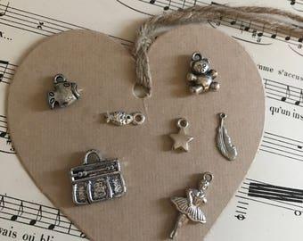 Vintage silver charms, bulk lot
