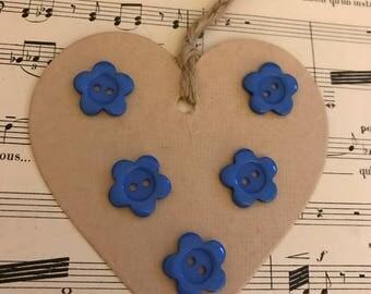 Set buttons blue flowers