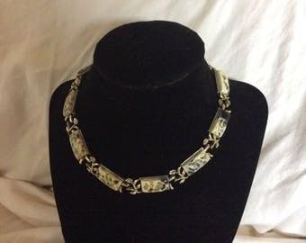 Vintage Coro Choker Necklace Gold, Black, White Stones