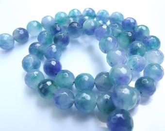 48 perles rondes facettées en agate teintée  8 mm LAO-567
