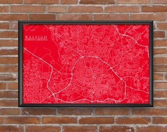 Raleigh, North Carolina Map Art (Carolina Hurricanes)