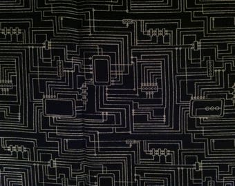 Circuit Board B&W fabric by the half yard