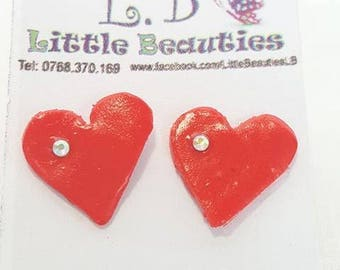 Heart earrings with swarovski
