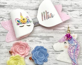 Unicorn gift box, hair bow set, unicorn bow set, personalised gift, personalized bow, personalised headband