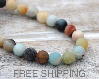 Amazonite Beads, 8mm Matte Multicolor FREE SHIPPING -15 inch strand