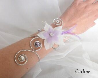 Magdelina - Bracelet bride violet white silk flower pearls feathers