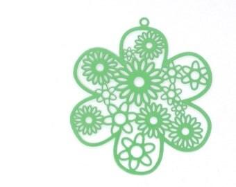 2 filigree flower 55x48mm green print