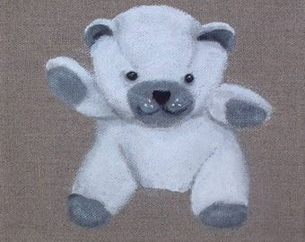 White Teddy bear painting