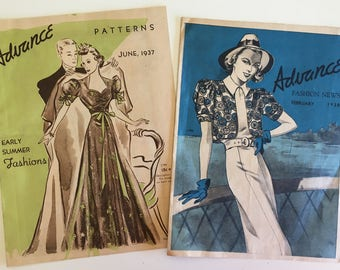 Advance Pattern Fashion News 1930s Pattern Booklet Pamphlet Catalog 1937 1938 Lot of Two