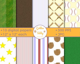 Baseball Digital Printable Scrapbook Paper / Backgrounds