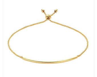 14k yellow gold tube charm bracelet