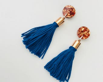 Copper and Navy Acrylic and Tassel Earrings