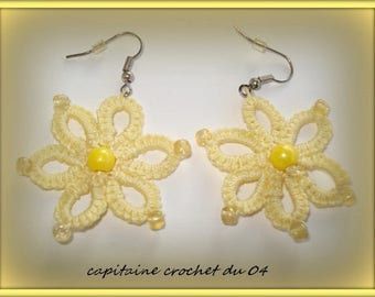 Pair of earrings/jewelry woman/girl/lace tatting/hand made by Captain Hook from 04