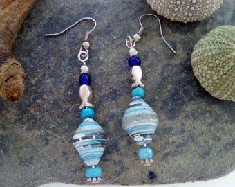 Dangling earrings. Paper beads. Quilling.Bijou women gift. Jewelry for everyday wear.