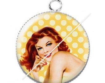 Vintage 3 pin-up girl resin cabochon pendant