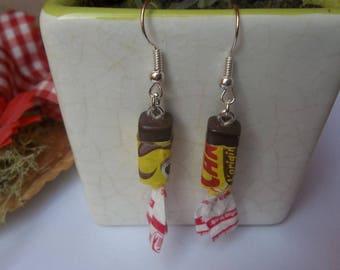 Boucles d'oreilles caram'bar fimo au caramel