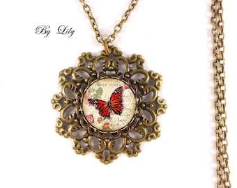 """Sautoir """" Papillon rouge printemps """" , rétro pendentif cabochon !"""