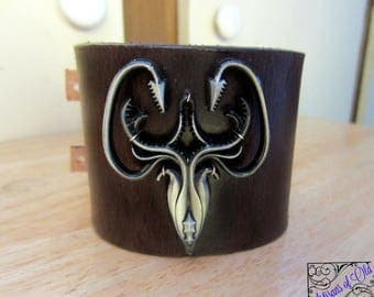 Game of Thrones Wrist Band, House Greyjoy Cuff, Leather Bracelet, Brown Leather Cuff, Ready to Ship