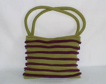 MOSS green knit handbag / plum joke