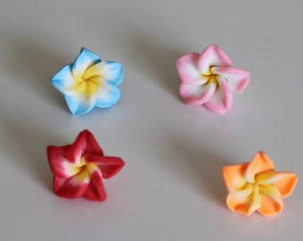 1 set of 4 flowers of Polynesia, 15 mm polymer ref No. 5