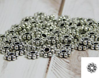 100pcs - 6mm Daisy Spacers - Silver Daisy Spacers - Heishi Beads - Silver Spacer Beads - Antique Silver - 6mm Spacer Beads - (B518)