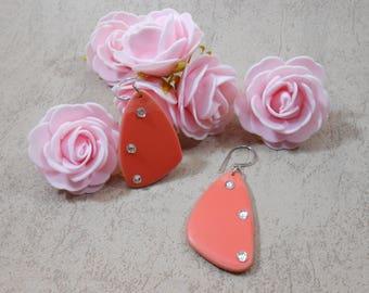 triangle earrings, coral dangle earrings in polymer, geometric earrings, jewelry was for her, rhinestone earrings
