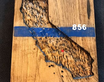 Thin Blue Line State Carving