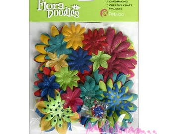 "Wholesale lot of 50 flowers fabric shades red, blue, green, yellow ""petaloo"" scrap.* embellishment"