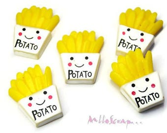 Set of 5 resin embellishment scrapbooking card making (ref.410) fries cones *.
