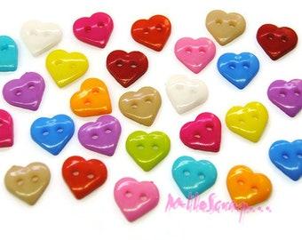 Lot de 25 boutons coeurs multicolore embellissement scrapbooking carte (réf.410)*