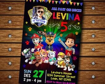 Paw Patrol Invitation,Paw Patrol Birthday Invitation,Paw Patrol Girl,Paw Patrol Birthday,Paw Patrol Invites,Paw Patrol Card,Paw Patrol FF