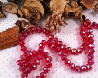 10 Crystal beads 6 x 4 mm iridescent cherry red faceted